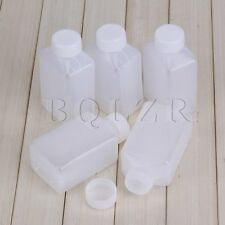 5 x 100ml Plastic Wide Mouth Square Bottle Chemistry Test Tool 3.53 oz