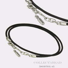 "Authentic Pandora Sterling Silver Black Leather Necklace 17.7"" 590397BK-45"