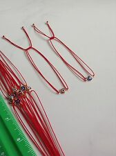 Evil Eye Red String Kabbalah Bracelet Goldfilled Bead Good Luck 2 Pcs