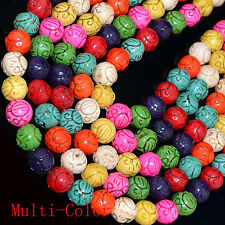 """10mm 12mm 16mm Multi-color Carved Turqoise beads 16"""""""