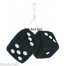 "3"" Fuzzy Dice BLACK with White Dots"