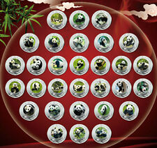 Complete Set of 30 Chinese Giant Panda Silver Colour Medal Coins