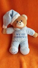 Wilkos My first 1st Christmas Blue Bear soft toy baby comforter 2013 9""