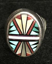 Mens Zuni Sterling Silver, Turquoise, Coral & mother of pearl Ring, Size 10