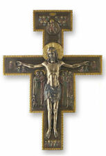"San Damiano Crucifix Cross Sculpture 16"" Tall Wall Plaque"