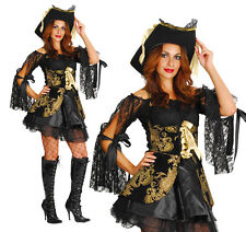 Sexy Damas Pirate Buccaneer Fancy Dress Costume traje de Halloween UK 10-14