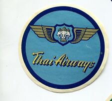 Vintage Airline Luggage Label THAI AIRWAYS blue round wings with elephants