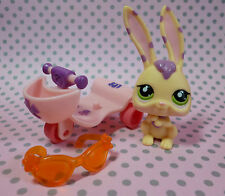 Littlest Pet Shop LPS #1845 in movimento Crema & Porpora Bunny Rabbit & SCOOTER