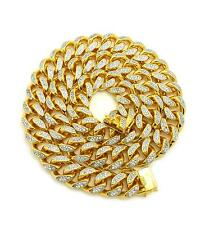 "New Hip Hop Iced out 19mm 30"" Heavy Gold Plated Brass CZ Stone Chain GN049G"
