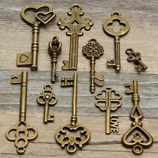 2x 11 Antique Vintage Old Look Skeleton Key Pendant Heart Bow Lock Steampunk Set