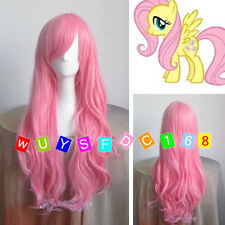New My Little Pony Fluttershy Long Pink Curly Cosplay Wig