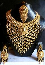 South Indian 22K Gold Plated Broad Necklace Earrings Wedding 8'' Tikka Nice Set