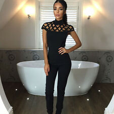 Women Choker High Neck Caged Sleeve Playsuit Summer Bodycon Party Slim Jumpsuit
