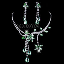 Lime Green Wedding Bridal Flower Rhinestone Crystal Necklace Earrings Jewelry