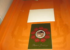 Vintage 1973 FRANKLIN MINT CHRISTMAS CARD WITH SEALED COIN /CENTER Brass Bronze?