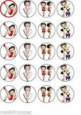 Betty Boop 20 X Comestibles Cupcake Toppers Impreso en papel de arroz Partes