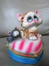 Vintage Mann  Musical Music Box Kitten Cat mouse sittin on pillow