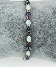 Beautiful Mystic Topaz & Fire Opal Platinum Plated Bracelet