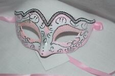 Princess Fairy Mask Pink and Silver Glitter Exquisite Mardi Gras Halloween