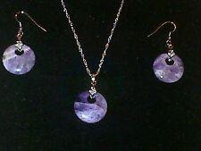 Plata + Morado piedra semipreciosa collar + colgante juego de pendientes