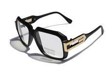 Matte black Clear Lens Square Gazelle Style Sun Glasses w Gold Metal Accents Dmc