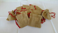 10 X  Jute, Hessian, Gift, Storage Pouch, Drawstring Bag, wedding favours