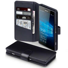 Real Genuine Leather Wallet Case for Microsoft Lumia 950 XL - Black