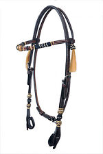 Western Dark Oil Black/Natural Rawhide Braided With Hair Tassel Headstall