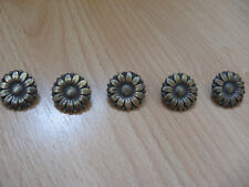 Flower buttons x5 antique gold tone, metal buttons,crafts,sewing, notions, gift