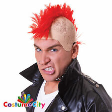 Adults Red Mohawk Mohican Wig Punk Rocker Fancy Dress Costume Accessory