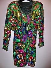 Vintage 80s 2 Piece Super Sparkly Sequins Beads Party Cocktail Dress M