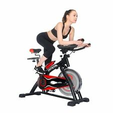 Red Women Home Exercise Bike Spin Cycle Indoor Cycling Cardio Fitness Equipment