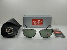 RAY-BAN POLARIZED SUNGLASSES RB3506 029/9A GUNMETAL & SILVER/GREEN LENS 64MM