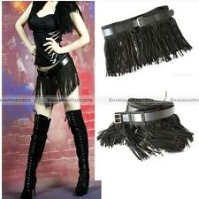 Womens Black Sexy Jazz Tassel Mini Skirt Evening Party With Belt