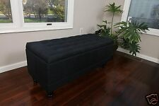 Large Tufted  Hinged Storage Ottoman Black Fabric Bench Foot Rest Coffee Table