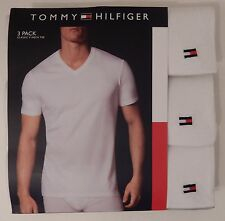 3 TOMMY HILFIGER MENS 100% COTTON WHITE V NECK S M L XL XXL T-SHIRTS UNDERSHIRTS