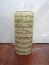 Hand finished candle with music notes script song writing musician unusual