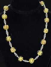 Vintage Venetian Murano Glass with Yellow & Gold Stone Interior Necklace