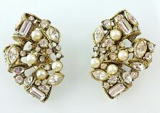Vintage Signed CAROLEE Rhinestone Faux Pearl Antique Gold Clip On EARRINGS
