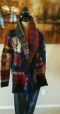 Polo Ralph Lauren Indian Chief Flag Patchwork Sweater Cardigan Sz Sm Women's