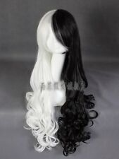New Wig Cosplay Wig Black And White Long Curly Hair + Free Shipping