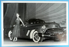 """12 By 18"""" Black & White Picture 1953 Buick Skylark Convertible Top Down"""