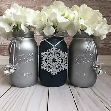 Navy Blue and Silver Mason Jars, Christmas Table Centerpiece, Christmas Decor