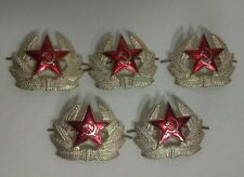 SOVIET RUSSIAN RED ARMY STAR HAT PIN USSR VINTAGE MILITARY COLLECTIBLE SET OF 5
