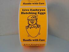 LIVE EMBRYOS HATCHING EGGS HANDLE WITH CARE fluorescent orange 2x3 Label 250/rl