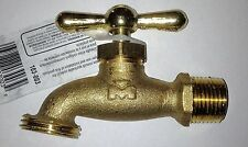 "Brass Garden Water Tap Faucet 3/4"" NPT Male Thread w/Hose Thread Rain Barrel NEW"