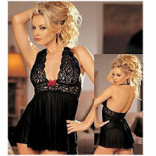 Black NEW Women Backless  Sexy  Lingerie Night Babydoll  Dress +G-string