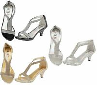 Womens Wedding Sandals Ladies Mid Heel Diamante Evening Prom Party Shoes Size