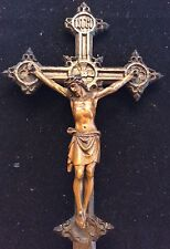 KRUZIFIX wohl 18. Jh., Holz Kreuz Eiche geschnitzt mit Corpus Jesus 34 cm