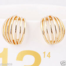 NEW Exquisite women Statement yellow gold filled long Ear Studs earrings